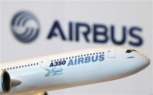 A model of an Airbus A350 passenger plane is displayed at a news conference in Hong Kong