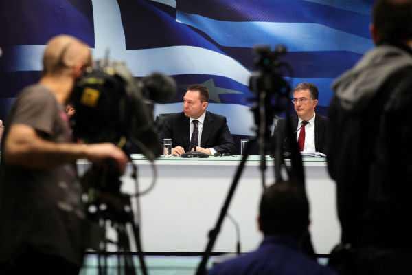 Γ. Στουρνάρας: «Στόχος το πρωτογενές πλεόνασμα για να πετύχουμε νέο κούρεμα του χρέους» κατά τη συνέντευξη τύπου στο υπουργείο Οικονομικών μετά το Eurogroup / Αθήνα, Τρίτη 16 Απριλίου / fosphotos.com | Menelaos Myrillas