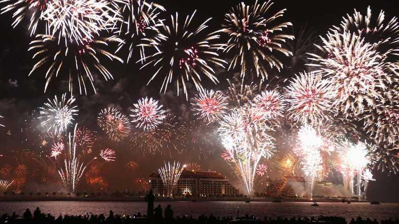 Fireworks explode in the sky over Dubai