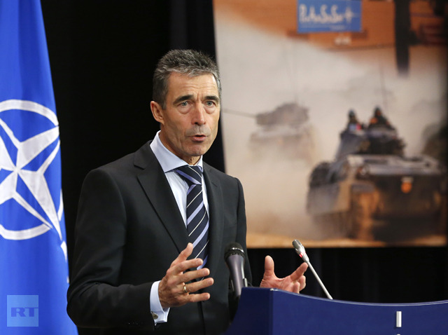 NATO Secretary-General Fogh Rasmussen holds at news conference during a NATO foreign ministers at the Alliance's headquarters in Brussels