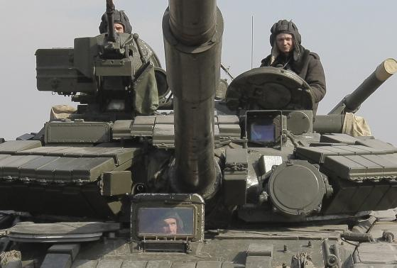 Ukrainian tank takes part in the military exercise near Kharkiv