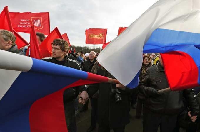 Pro-Russian Crimea rally in St Petersburg
