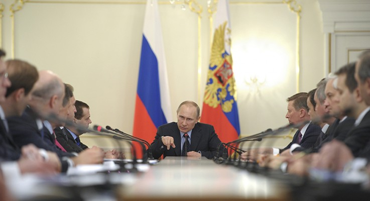 Russian President Vladimir Putin chairs Russian government meeting at Novo-Ogaryovo residence outside Moscow