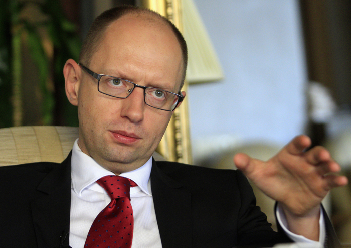 Yatsenyuk one of Ukraine's opposition leaders speaks during an interview with Reuters in Kiev