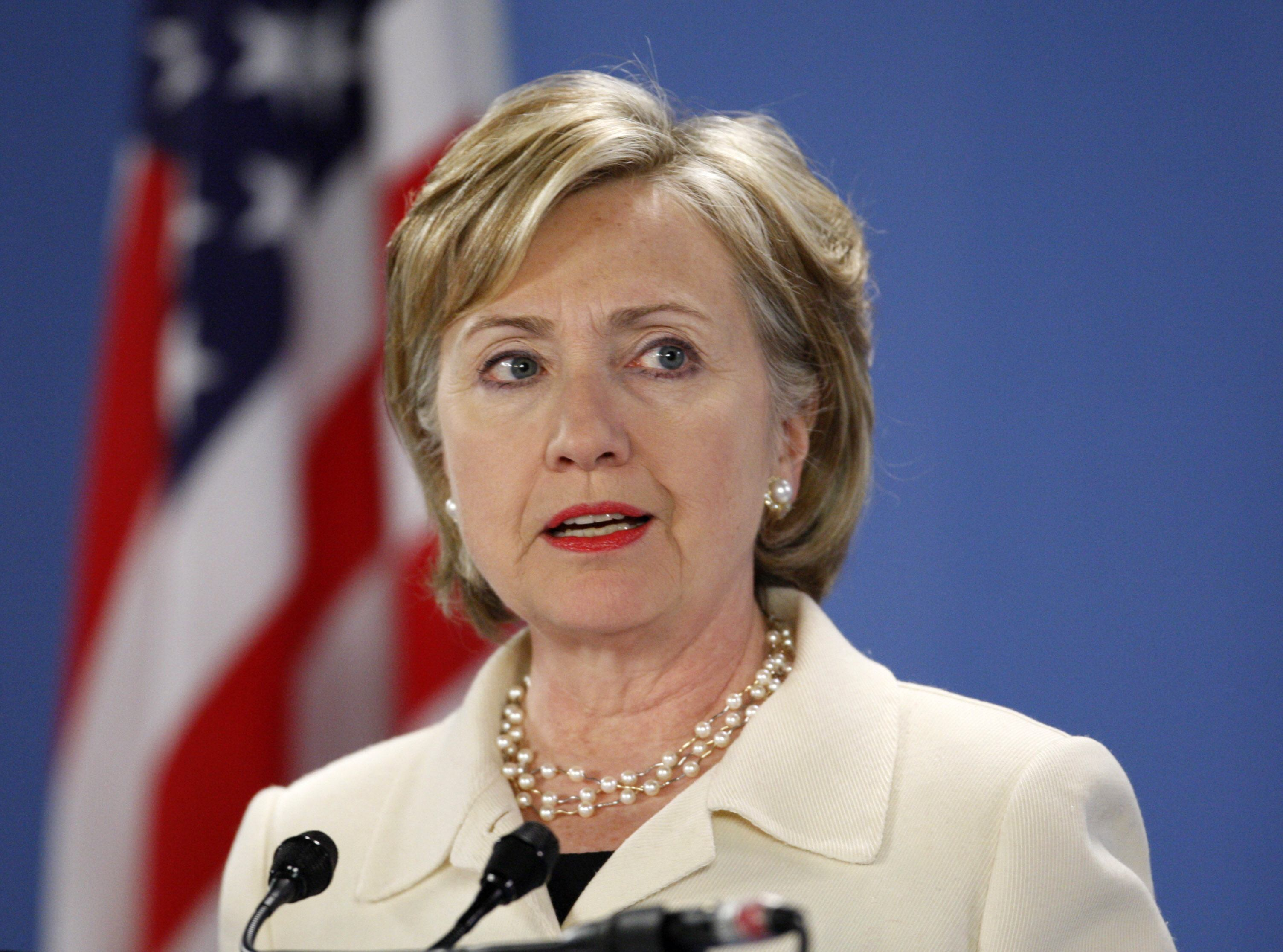 U.S. Secretary of State Clinton speaks during a news conference in the Hague