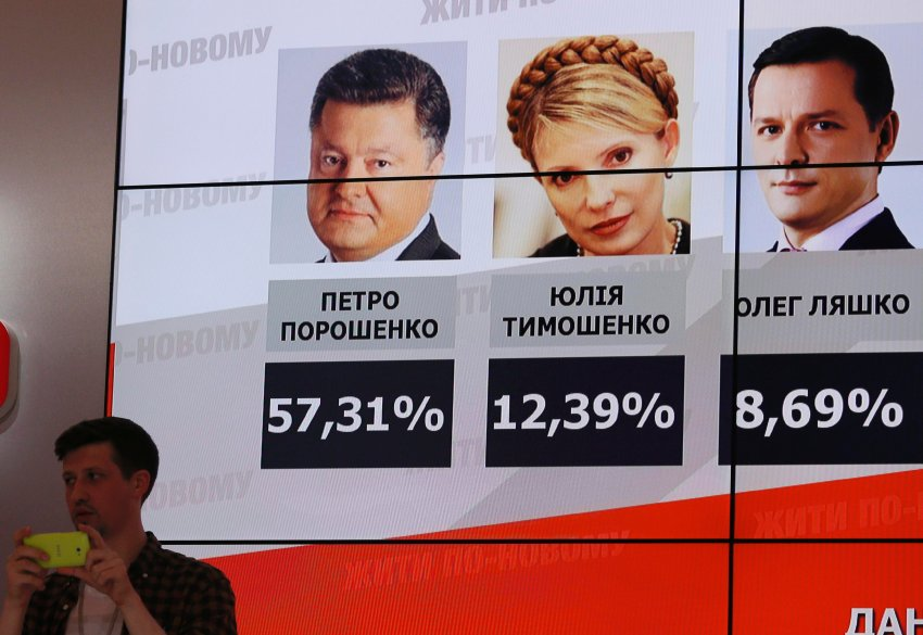 A board displays preliminary results from the Ukrainian presidential election at the headquarters of candidate Petro Poroshenko in Kiev