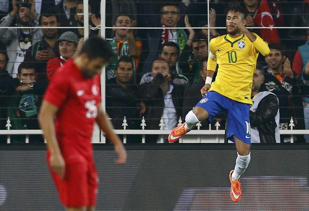 Neymar of Brazil celebrates his second goal against Turkey during their international friendly soccer match at Sukru Saracoglu stadium in Istanbul