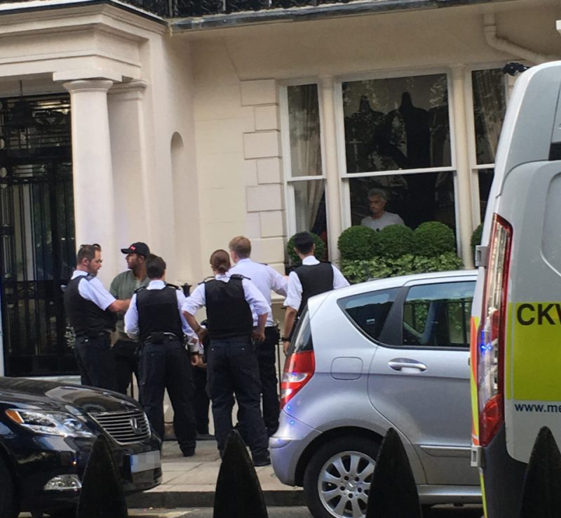 SUN EXCLUSIVE £££ DEAL Police arrest intruder at Jose Mourinho London home House number and number plates blurred